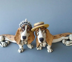 Two Bassets With Hats