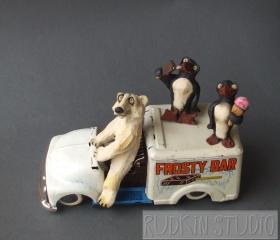 Polar Bear and Penguins with Ice Cream