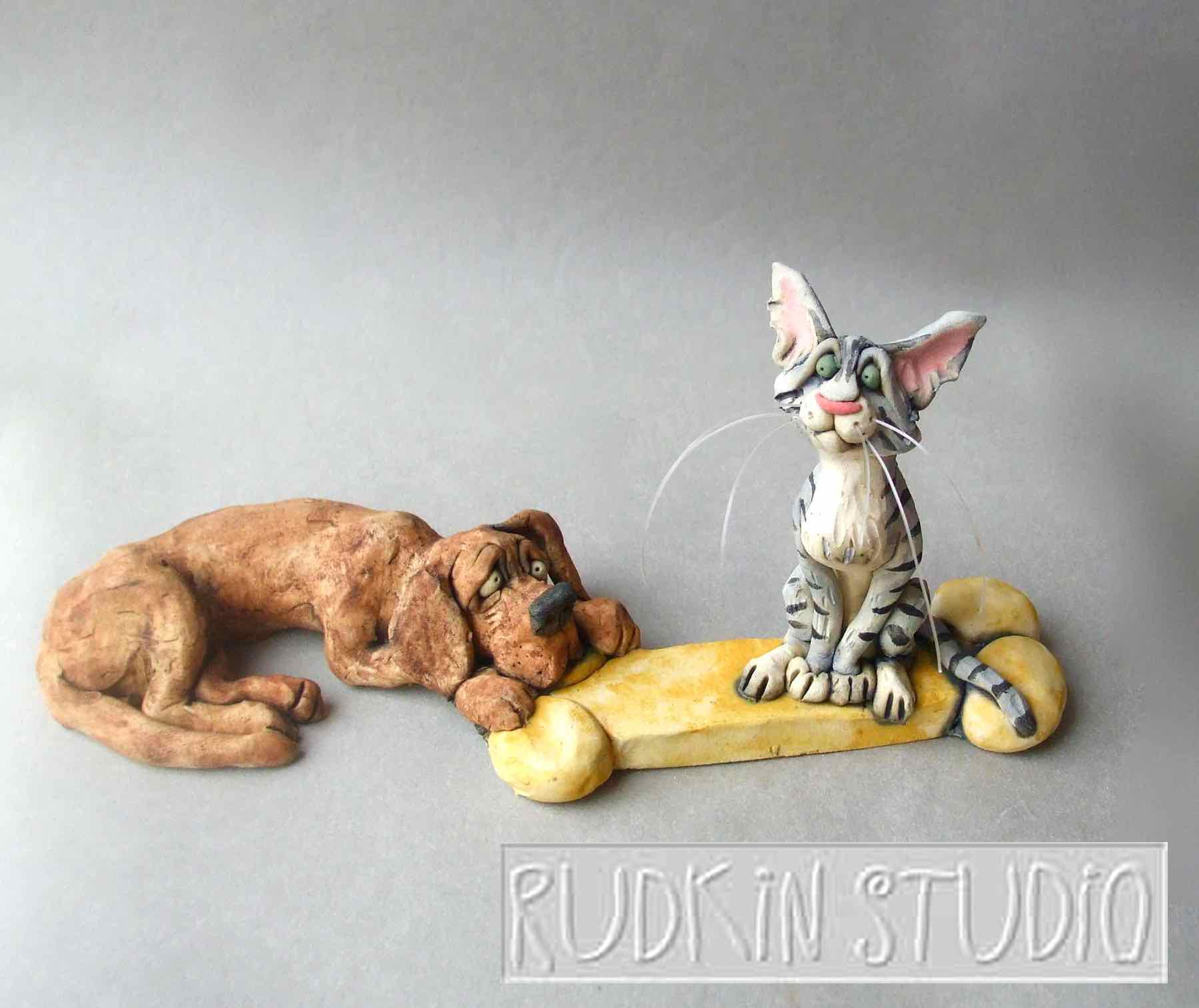 Cat and Dog Sculpture