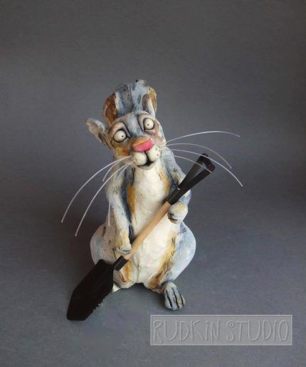 Squirrel Sculpture with Shovel