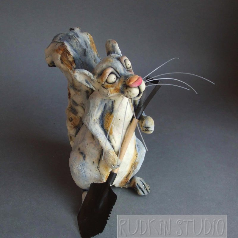 Squirrel Sculpture Shovel Side