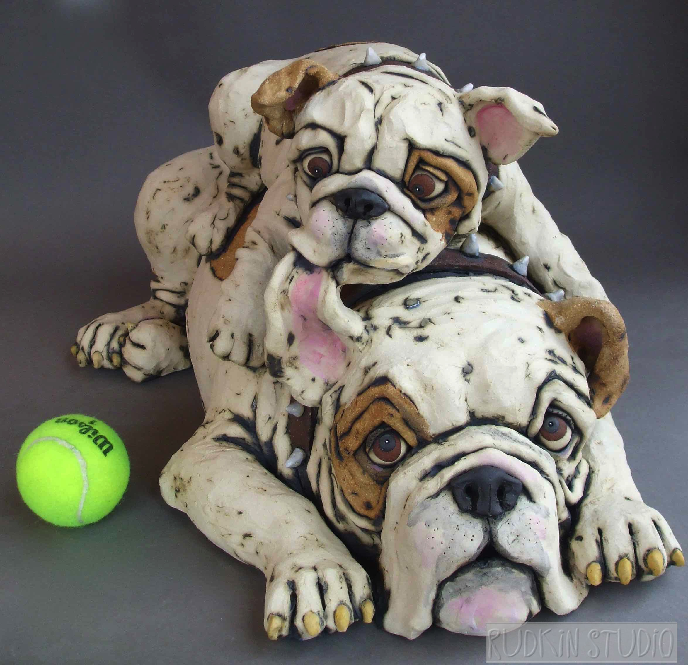 Large Bulldogs with Ball