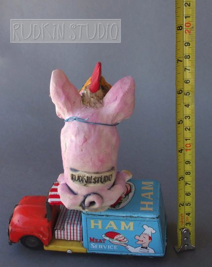 Ceramic Pig Ham Truck Back