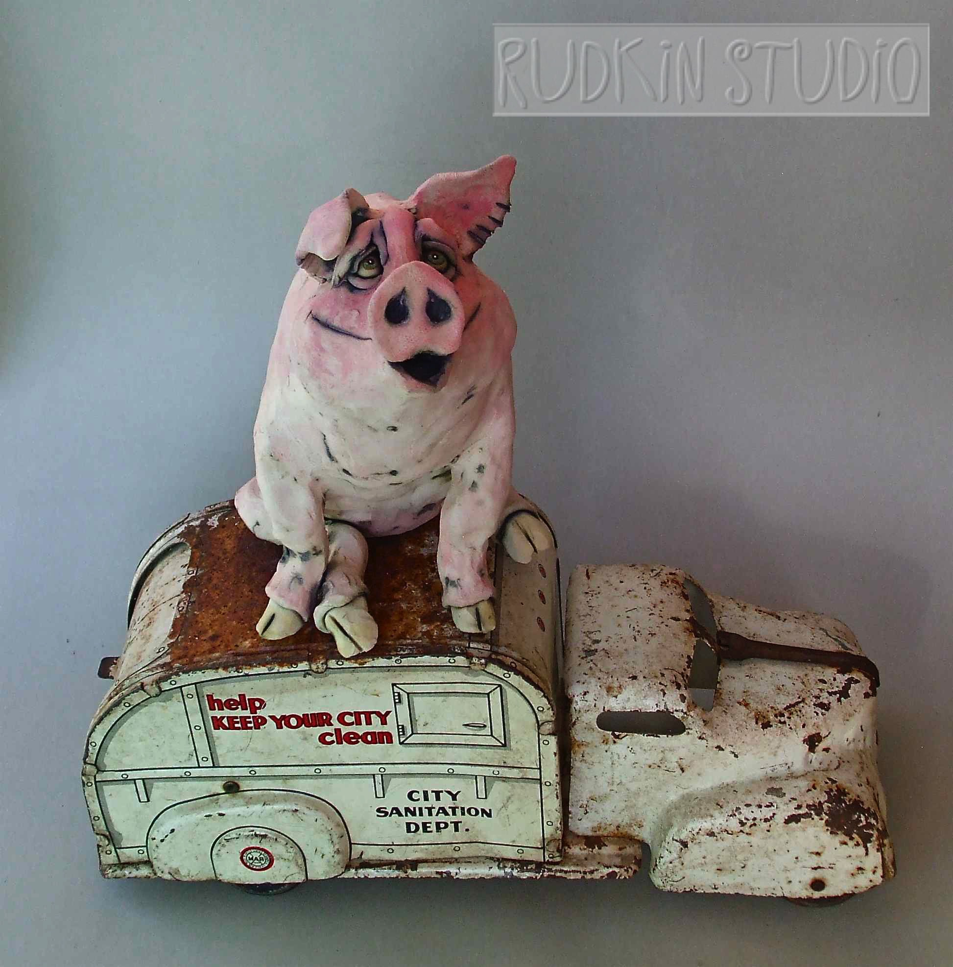 Pig Sculpture Garbage Truck