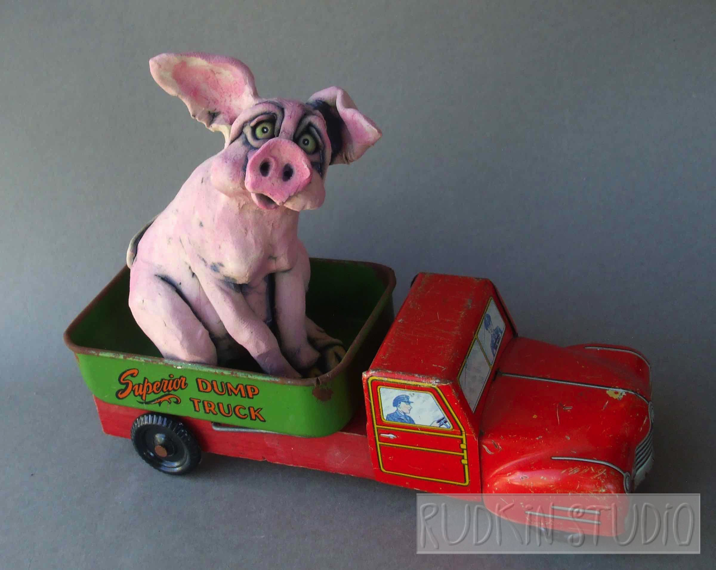 Pink Pig In Dump Truck Sculpture Joy Ride Rudkin Studio