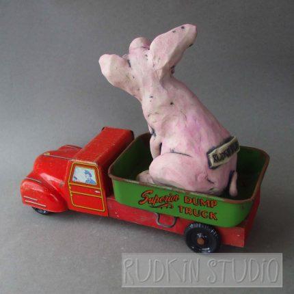 Pink Pig Dump Truck Back