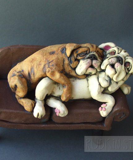 Cuddling Bulldogs