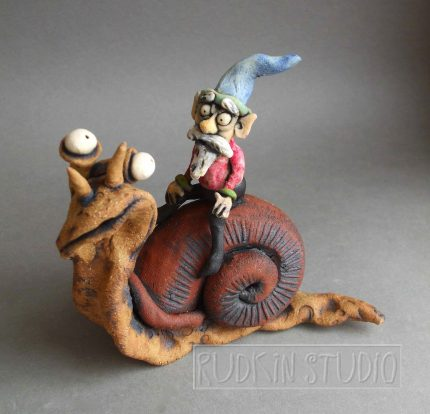 Garden Gnome on Snail