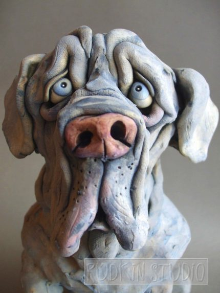Neapolitan Mastiff Dog Sculpture Close